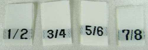 Bundle Size 1/2, 3/4, 5/6, 7/8 White Woven Clothing Sewing Garment Label Size Tags