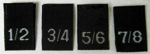 Bundle Size 1/2, 3/4, 5/6, 7/8 Black Woven Clothing Sewing Garment Label Size Tags