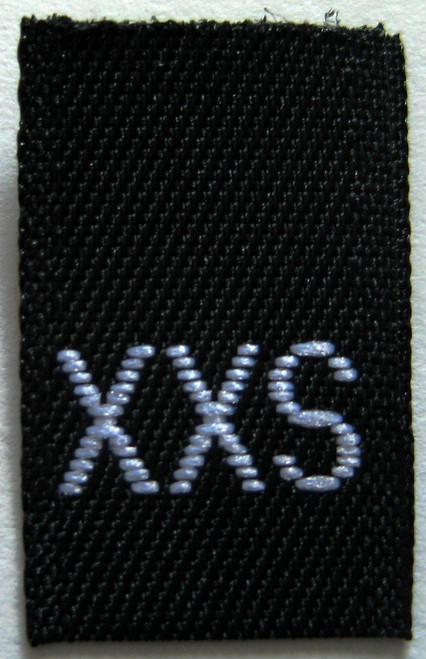 Copy of Black Woven Clothing Sewing Garment Label Size Tags - XXS - Extra Extra Small