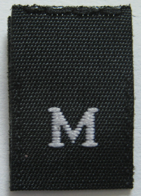 Black Woven Clothing Sewing Garment Label Size Tags - M - Medium