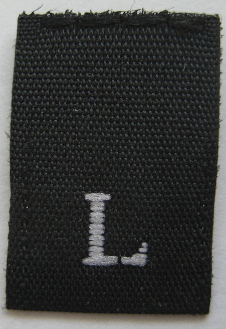 Black Woven Clothing Sewing Garment Label Size Tags - L - Large