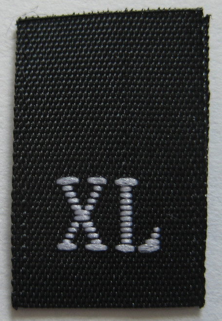 Black Woven Clothing Sewing Garment Label Size Tags - XL -  Extra Large
