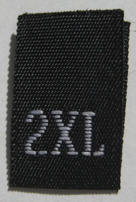 Black Woven Clothing Sewing Garment Label Size Tags - 2XL - XXL - Extra Extra Large