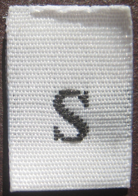 White Woven Clothing Sewing Garment Label Size Tags - S - Small