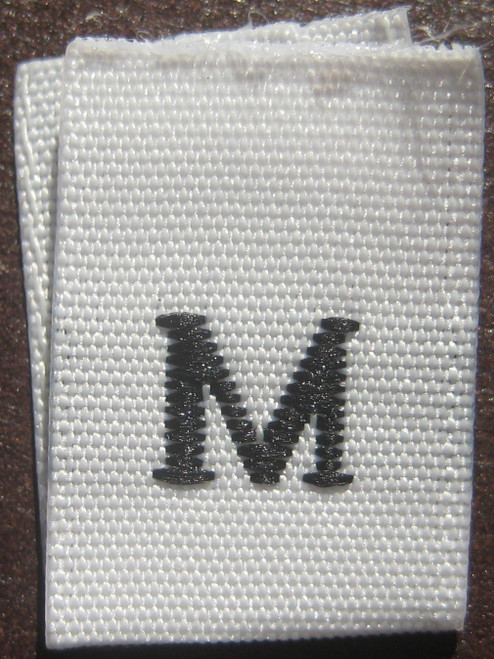 White Woven Clothing Sewing Garment Label Size Tags - M - Medium