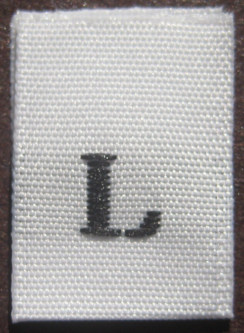 White Woven Clothing Sewing Garment Label Size Tags - L - Large