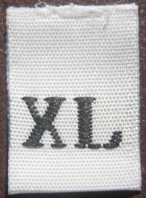 White Woven Clothing Sewing Garment Label Size Tags - XL - Extra Large