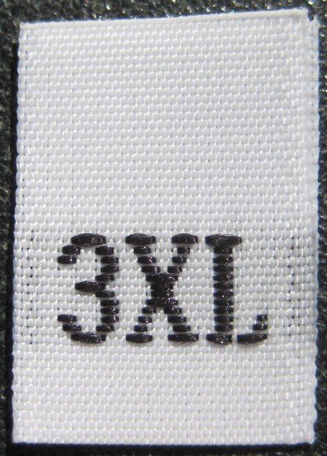 White Woven Clothing Sewing Garment Label Size Tags - 3XL - XXXL