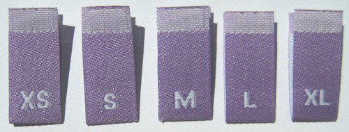 Bundle Size XS-XL Purple Woven Clothing Sewing Garment Label Size Tags