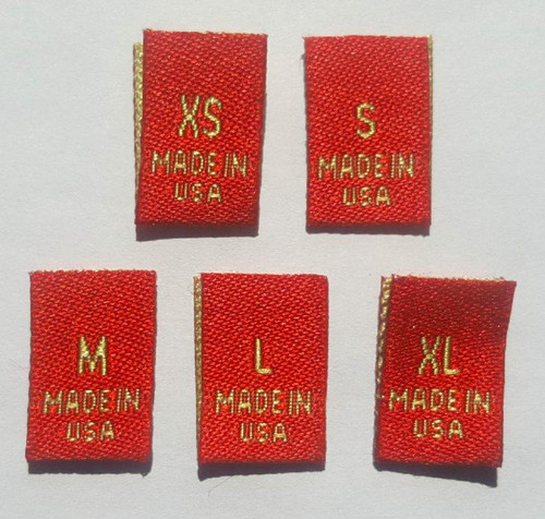 Bundle Size XS-XL Red Woven Clothing Sewing Garment Label Size Tags