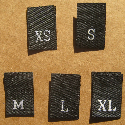Bundle Size XS-XL Black Woven Clothing Sewing Garment Label Size Tags