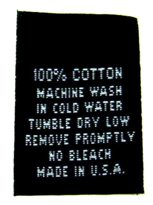 Black 100% Cotton Woven Clothing Sewing Garment Care Label Tags