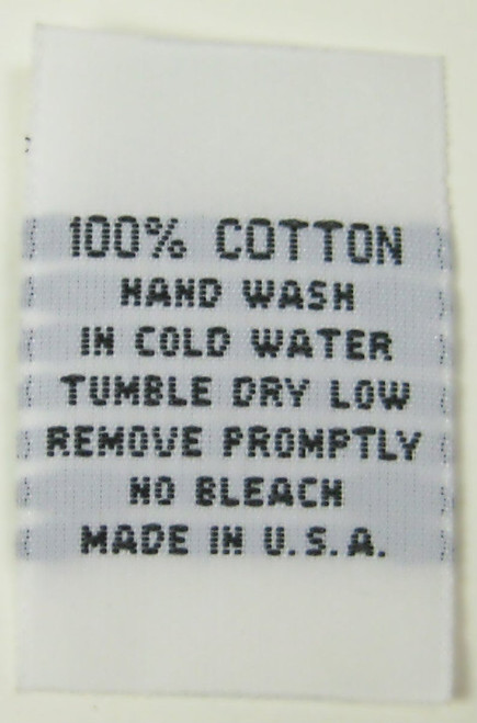 White 100% Cotton Hand Wash Woven Clothing Sewing Garment Care Label Tags