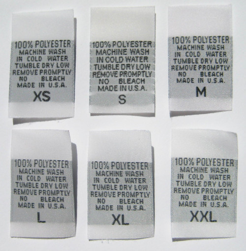 White 100% Polyester XS-XXL Woven Clothing Sewing Garment Care Label Tags