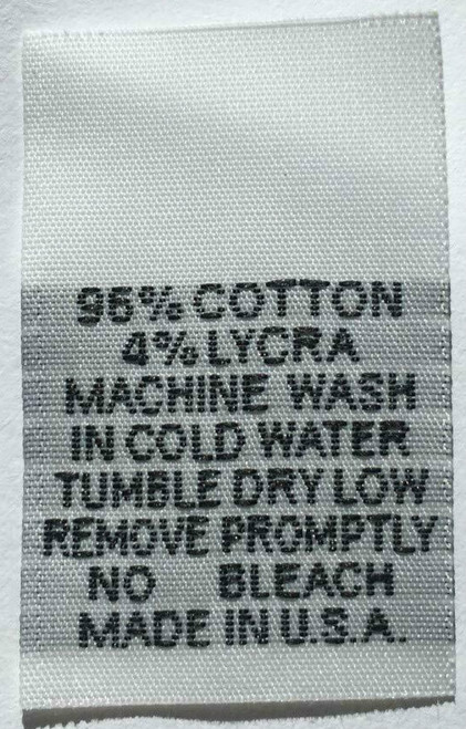 White 96% Cotton 4% Lycra Woven Clothing Sewing Garment Care Label Tags