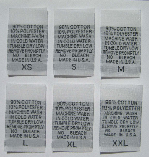 White 90% Cotton 10% Polyester XS-XXL Woven Clothing Sewing Garment Care Label Tags