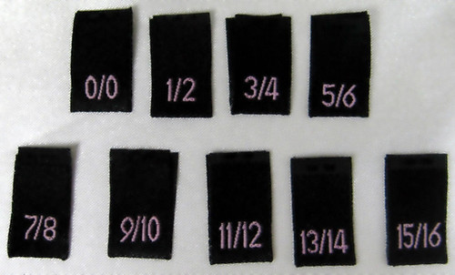 Bundle Size 0/0-15/16 Black Woven Clothing Sewing Garment Label Size Tags