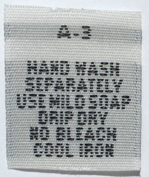 White Hand Wash Separately Woven Clothing Sewing Garment Care Label Tags