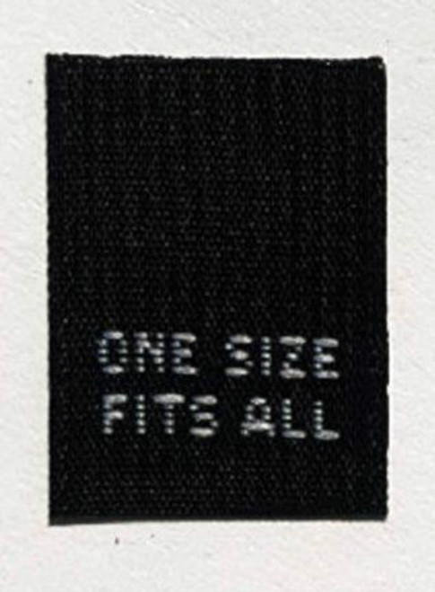 Black One Size Fits All Woven Clothing Sewing Garment Care Label Tags