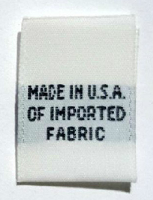White Made in USA of Imported Fabric Woven Clothing Sewing Garment Care Label Tags