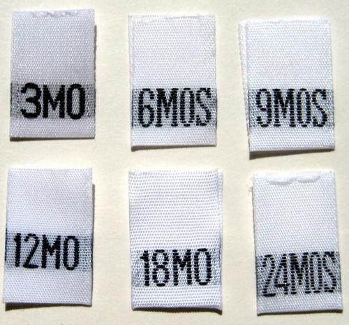 1000 pcs WHITE WOVEN WHITE CLOTHING LABELS SIX SIZE 6