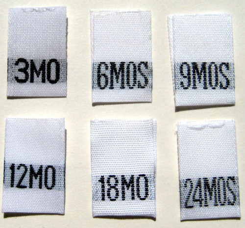 Bundle 3 Month-24 Month White Woven Infant Clothing Sewing Garment Label Size Tags