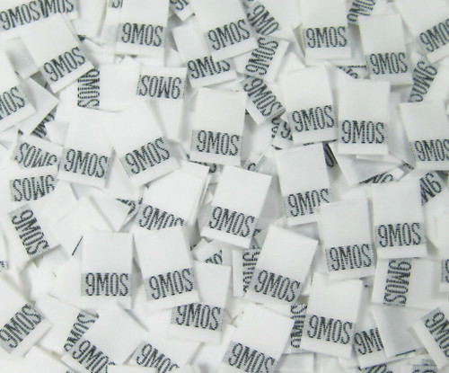 White 9 Month Woven Infant Clothing Sewing Garment Label Size Tags