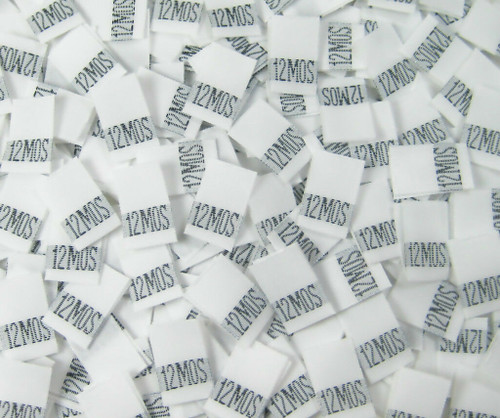 White 12 Month Woven Infant Clothing Sewing Garment Label Size Tags