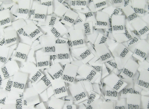 White 18 Month Woven Infant Clothing Sewing Garment Label Size Tags