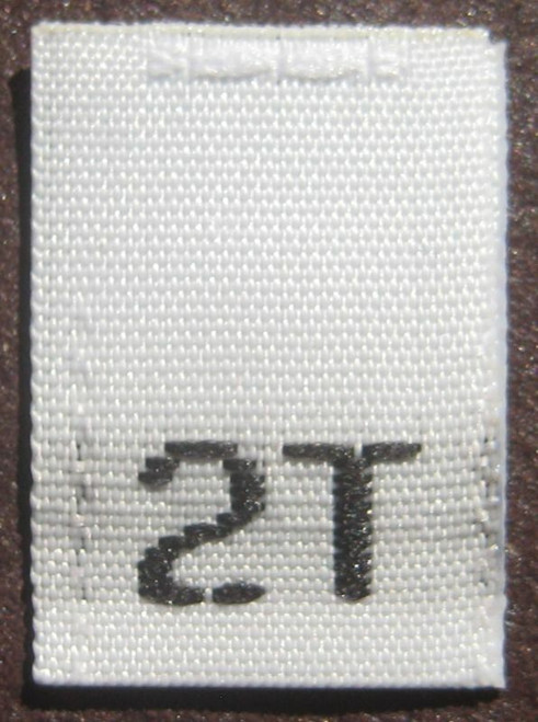 White 2T Woven Toddler Clothing Sewing Garment Label Size Tags