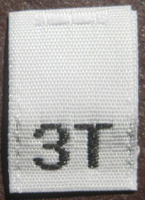 White 3T Woven Toddler Clothing Sewing Garment Label Size Tags