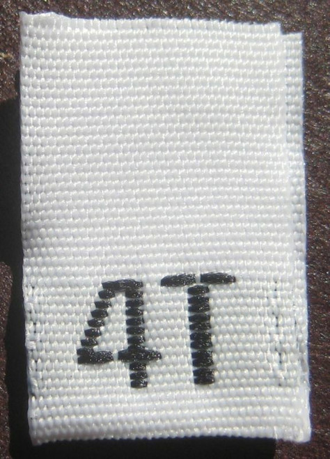 White 4T Woven Toddler Clothing Sewing Garment Label Size Tags