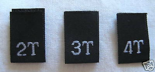 Black Bundle 2T 3T 4T Woven Toddler Clothing Sewing Garment Label Size Tags