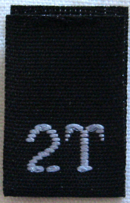 Black 2T Woven Toddler Clothing Sewing Garment Label Size Tags