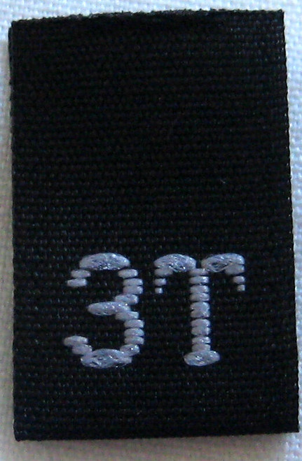 Black 3T Woven Toddler Clothing Sewing Garment Label Size Tags