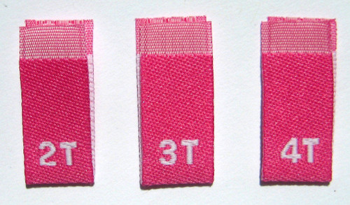 Rose Hot Pink Bundle 2T 3T 4T Woven Toddler Clothing Sewing Garment Label Size Tags