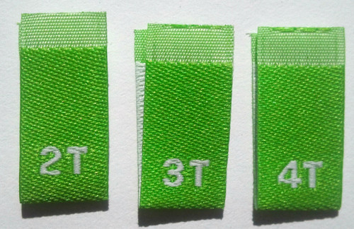 Lime Green Bundle 2T 3T 4T Woven Toddler Clothing Sewing Garment Label Size Tags