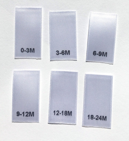 White Bundle 0-3M, 3-6M, 6-9M, 9-12M, 12-18M, 18-24M Satin Infant Clothing Sewing Garment Label Size Tags