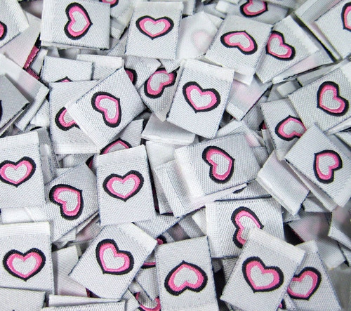 Pink Heart Woven Clothing Sewing Garment Label Tags