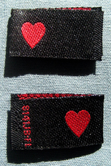 Red Heart Woven Double Sided Clothing Sewing Garment Label Tags