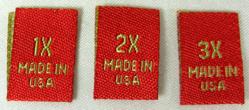 Bundle Size 1X 2X 3X Red Woven Clothing Sewing Garment Label Size Tags