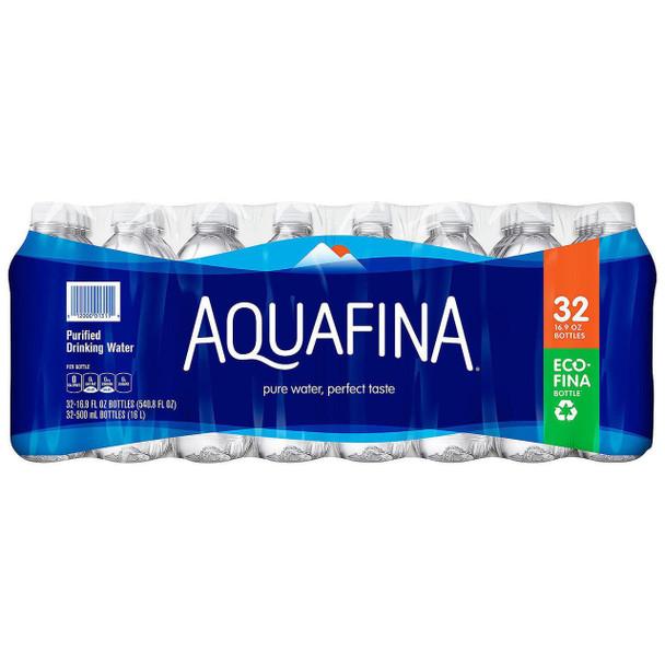 Aquafina Purified Drinking Water 16.9 oz, 32 Bottles - 1 Case