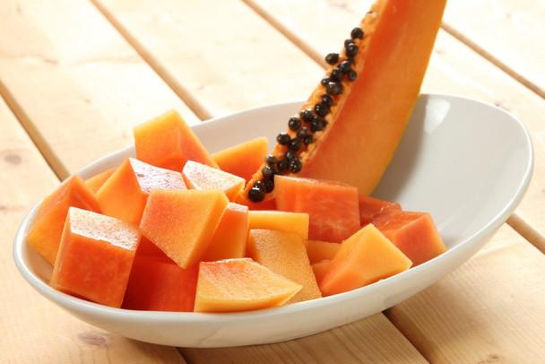 Indian Papaya Diced into Pieces