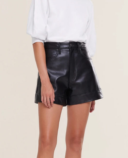 Womens Recycled Leather Angled Hem Short