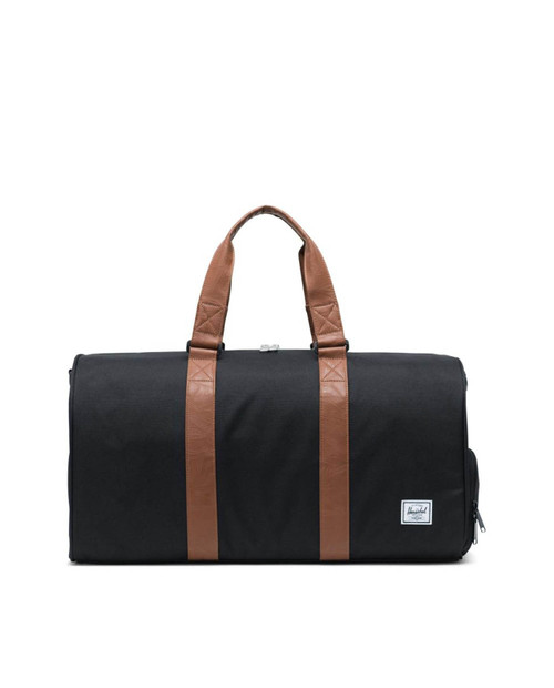 Novel Mid-Volume Duffle in Black/Tan Synthetic Leather