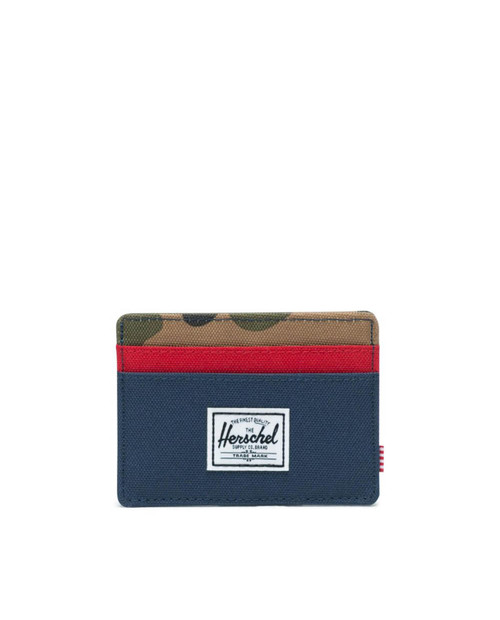 Charlie RFID Wallet in Navy/Red/Woodland Camo
