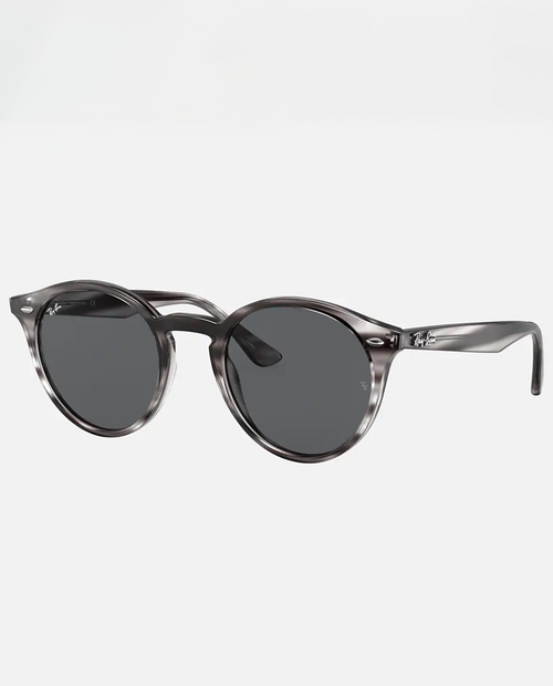 Rayban Sunglasses with Striped Grey Havana Frame and Dark Grey Lens