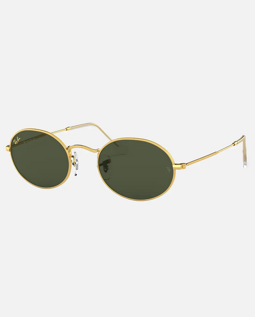 Oval Sunglasses with Legend Gold Frame and Green Lens