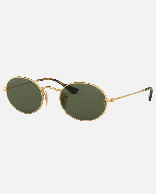 Oval Sunglasses with Arista Frame and Green Lens