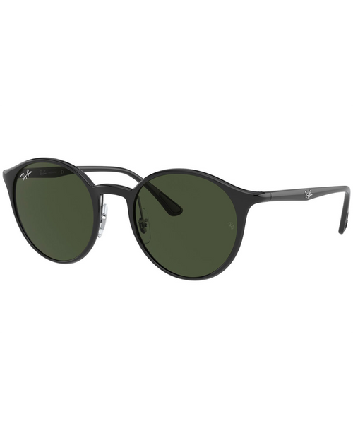 Injected Unisex Sunglasses With Black Frame and Green Lens
